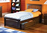 Atlantic Furniture Brooklyn w/Raised Panel Footboard Antique Walnut/Twin