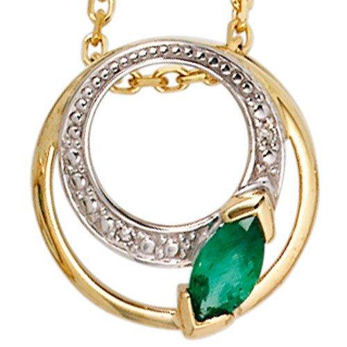 Pendentif avec émeraudes et diamants brillants &2 en or jaune 585