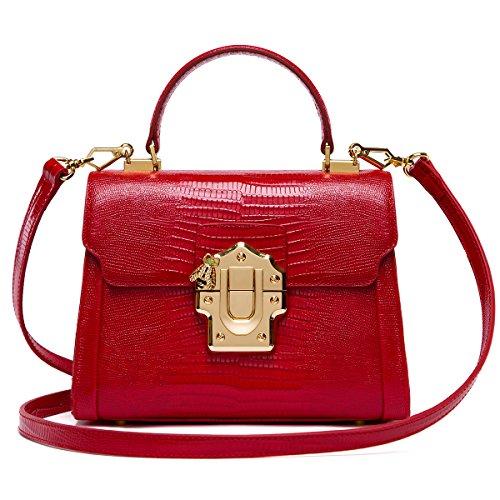 (LA'FESTIN Crossbody Handbags for Women Lizard Pattern Red Leather Shoulder Tote Purse Mini)