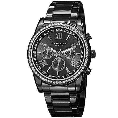 Akribos XXIV Men's AK868BK Round Dark Gray Dial Three Hand Quartz Black Bracelet Watch