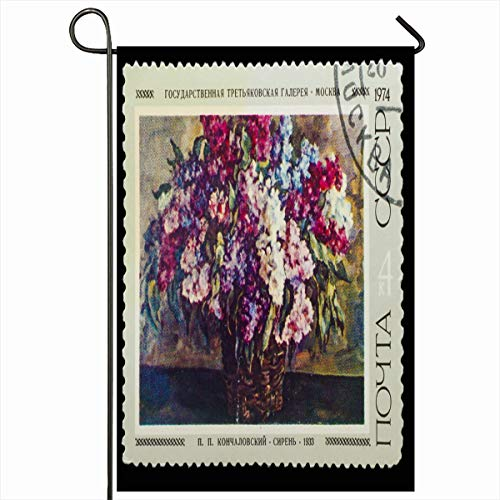 - Ahawoso Garden Flag 12x18 Inches Paintings Black USSR Circa Post Stamp Printed Museum Nature Canvas Culture Cutting Date Design Postal Decorative Seasonal Double Sided Home House Outdoor Yard Sign