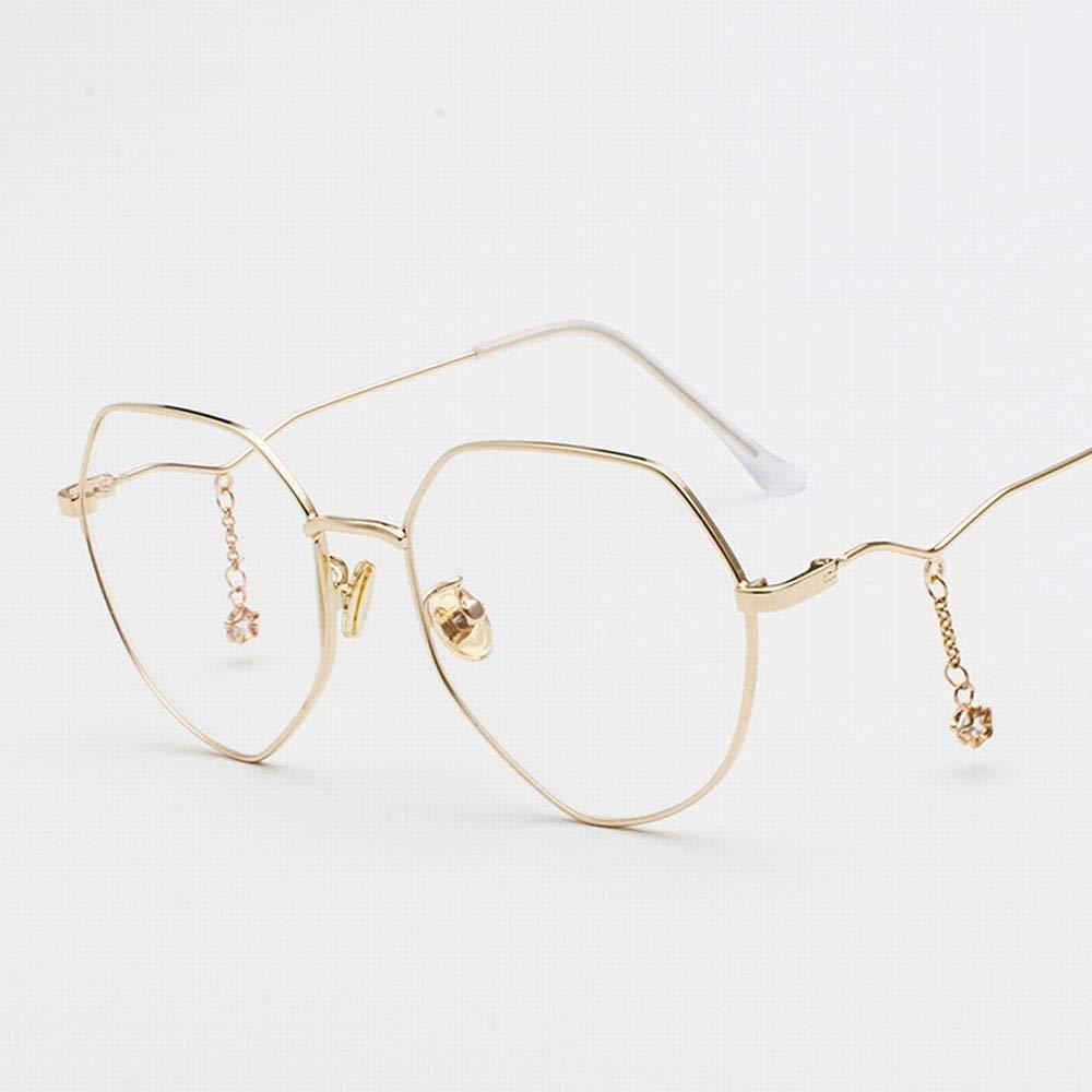 gold frame MISSKERVINFENDRIYUN YY4 Womens Fashion Polygonal Glasses Frame Myopia with Stars Chain Pendant (color   Black gold Frame)