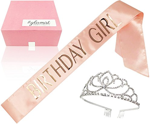 #glamist Birthday Girl Blush Pink Sash with RoseGloss Print and Platinum Rhinestone Tiara - Perfect for The Big Celebration on Your Bday!
