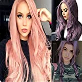 YOUNG MARTIN Women Purple Wavy Wig Long Curly Cosplay Wig for Costume Party Fancy Dress with Wig Women's Curly Pony Tail Hair Piece Synthetic Claw Clip Ponytail Wavy (purple) ...