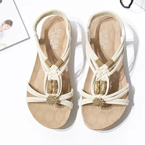 Jamicy Summer Casual Beach Bohemia Beaded Design Sandals Shoes Beige 7Kw8JPzz4w