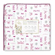 SwaddleDesigns Ultimate Swaddle Blanket, Made in USA Premium Cotton Flannel, Disney It's a Small World - Hello!, Very Berry