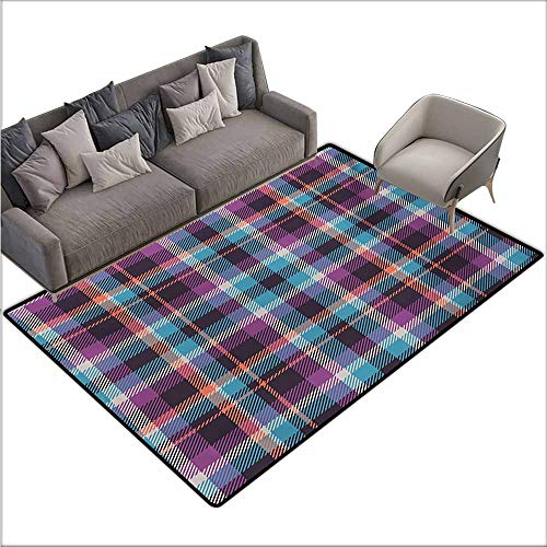 Outside The Door Rug Checkered Celtic Tartan Irish Culture Scotland Country Antique Tradition Tile Hard and wear Resistant W78 xL94 Violet Pale Blue Salmon