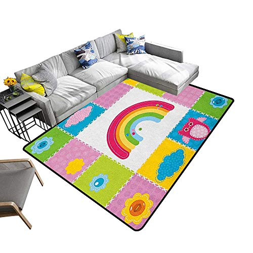 (Nursery Custom Pattern Floor mat Squares Stitched Together Sewing Themed Cute Artwork Rainbow Sun Clouds Nature 70
