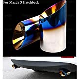 2Pcs Blue Stainless Steel Exhaust Muffler Tail Pipe Tip Tailpipe Custom Fit for Mazda 3 Hatchback 2013 2014 2016 2017 2018 2019