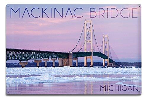 Mackinac Bridge, Michigan - Winter Scene (12x18 Aluminum Wall Sign, Wall Decor Ready to Hang) ()