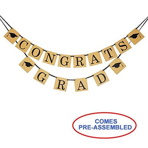 CONGRATS GRAD Banner Sign - Perfect Graduation Decorations - Graduation Party Supplies for Grad (Congrats Grad Yard Sign)