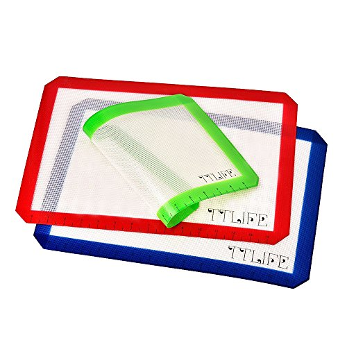 TTLIFE Set of 3 Silicone Baking Mat with Measurements- 2 X Standard Half Sheet, 1 X Toaster Oven - Nonstick Heat
