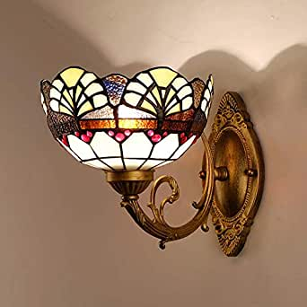 Tiffany Style Wall Sconces Light, European Pastoral Stained Glass Bedside Living Room Aisle Corridor Wall Lamp, Bathroom Mirror Headlight, Max 40W, E27