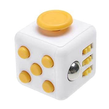 Mini White And Yellow Fidget Cube Relieves Stress Anxiety Toy 6 Side Focus Attention