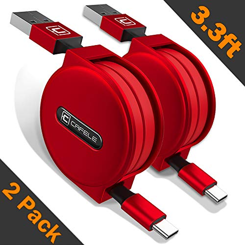 Retractable USB Type C Cable, CAFELE 2 Pack/3.3ft USB A to USB C Charger Fast Charging Cable Compatible for Samsung Galaxy S9 Note 8 S8 Plus,LG V30 V20, Google Pixel, Moto Z2, MacBook and More - Red
