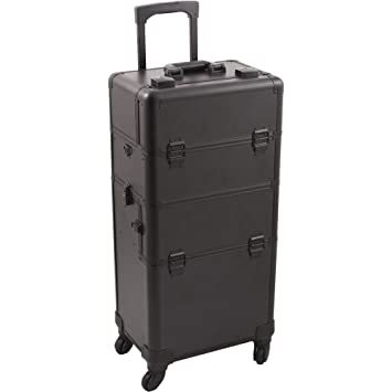 9535f5cc8e0e Hiker HK6501 Pro 4 Wheels 2-In-1 Rolling Makeup Train Case Organizer 4-Tray  Dividers Roomy Space, Smooth Black, 1-Count