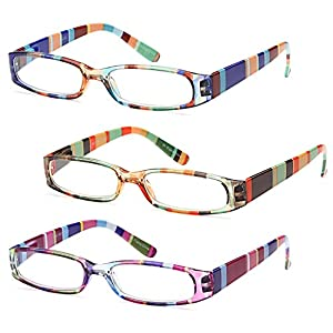 GAMMA RAY 3 Pairs Ladies Fashion Readers Colorful Reading Glasses - 1.75x