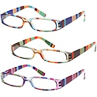 GAMMA RAY 3 Pairs Ladies Slim Fashion Readers Colorful Reading Glasses
