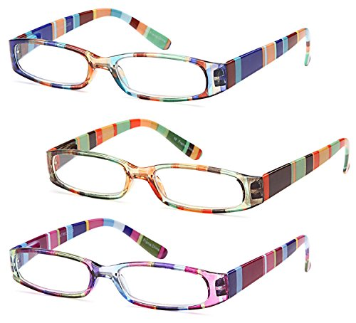 GAMMA RAY 3 Pairs Ladies Slim Fashion Readers Colorful Reading Glasses - 2.00x - Specs Lightweight Comfortable Clear Lens