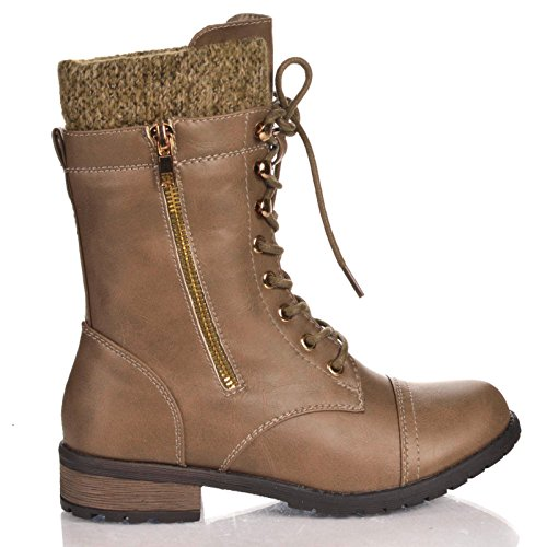 Forever Link Womens Mango-31 Runde Zehe Military Lace Up Knit Knöchel Manschette Low Heel Combat Boots Graue Taupe
