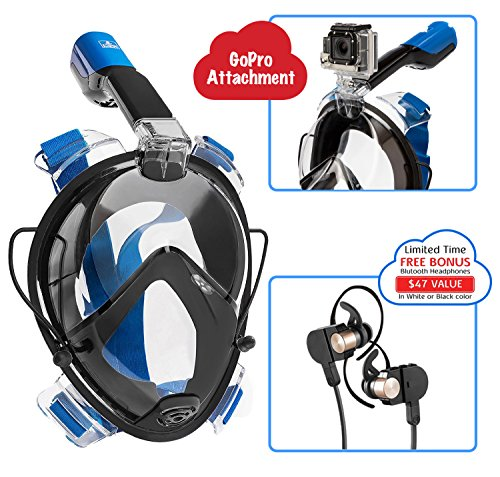 IndigoMer Snorkel Full Face Mask GoPro Attachment - Panoramic Ocean View Breathing Full Face Snorkeling (Size L/XL) - Blue Ocean Scuba