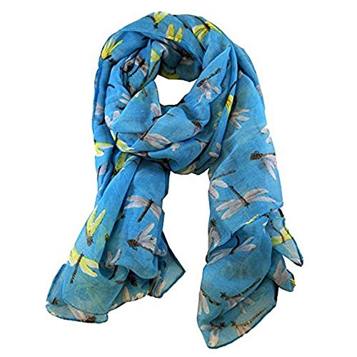 Dragonfly Plaid - Scarfs for Women,Maonet Lady Womens Long Cute Dragonfly Print Scarf Wraps Shawl Soft Scarves (Light blue)