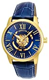 Invicta Men's 'Objet D Art' Automatic Gold-Tone and Leather Casual Watch, Color:Blue (Model: 22601)