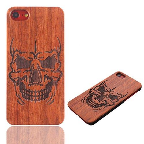 Vandot para iPhone 7 Plus Funda de Madera - Bamboo Wood y PC - Natural Hecha a mano de Bambú / Madera Carcasa Case Cover para iPhone 7 Plus 5.5 Pulgadas, Diseño de Cráneo Calavera Mu+PC 06