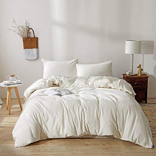 BFS HOME Stonewashed Cotton/Linen Queen Duvet Cover, 3-Piece Comforter Cover Set, Breathable and Skin-Friendly Bedding Set (Off-White, Queen) (Linen Duvet Bedding)