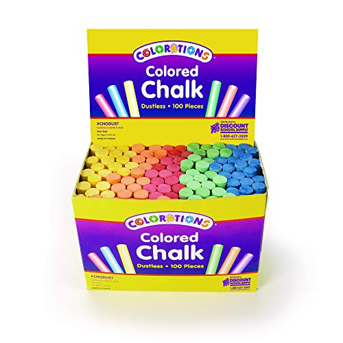 Colorations Colored Dustless Chalk Set of 100 Pieces for Kids Arts and Crafts Material