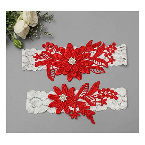 GARGALA Wedding Garters for Bride Bridal Lace Garter Set with Rhainestone Pearls (Red) -