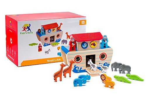 Wooden Noah's Ark Playset: Educational Chunky Animal Toys In Pairs For Toddlers, ColorfulNon-Toxic Paint, Smooth Edges Safe Figurines Easy To Hold, Preschool Boys And Girls, Motor And Sorting Skills