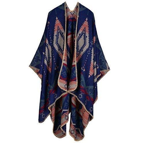 Moonwind Blanket Scarf Wraps for Women Winter Scarves Oversize Poncho Cape Shawl (Rhombus Pattern, Rhombus Pattern-Navy)