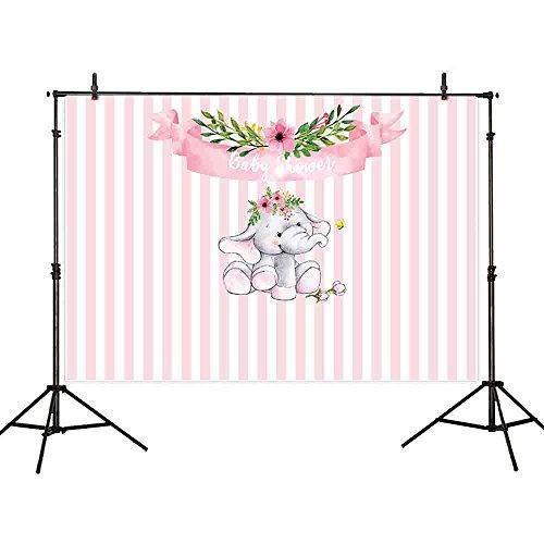 Allenjoy 7x5ft Baby Shower Backdrop Elephant Newborn Pink stripe Flowers Banner Cartoon Dessert table Photography Background Wallpaper Photo Infant Pregnant Studio Props