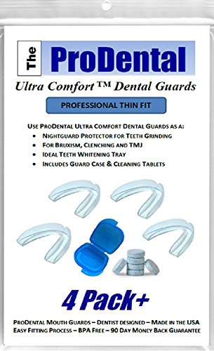 ProDental Thin and Trim Anti Grinding, Teeth Whitening Dental Guard -Pack of 4- Stops Bruxism & Clenching. Mouth Guards Made in USA - No BPA. Includes Anti-Bacterial Case & Cleaning Tablets