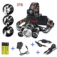 Boruit Rechargeable Flashlight LED Headlamp Rj-3000 Led Headlamp 3 X Cree Xml-l2 4 Modes 5000 High Lumen Headlamps LED Head Light for Camping Hiking with AC Adapter USB Charger Car Charger 18650 Batteries