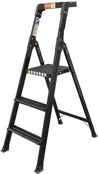 Escalera plegable taburete banqueta Escaleras de tijera negras con bandeja, Escalera pequeña de 3 pasos para el hogar de la cocina, liviana y pequeña, con escalones anchos, para niños adultos mayores,: Amazon.es: