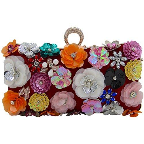 Zhhlinyuan Sacs à main de haute qualité Designer's Unique Flowers Beads Embroidery Evening Buns Box Handbags Bride Bags Gifts for Women Multicolor Dark Red