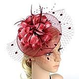 ACTLATI Charming Big Flower Headband Netting Mesh Hair Band Cocktail Hat Party Girls Women Fascinator Wine Red