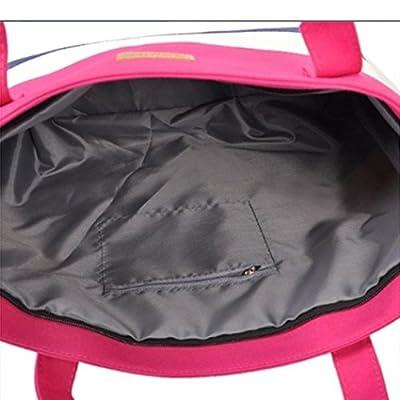 Youcoco Women Canvas Zipper Handbag Soft Large Capacity Wide Striped Shoulder Bags Shoulder Bags