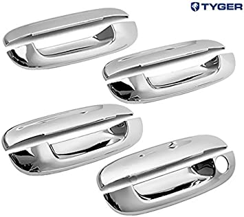 Amazon Com Tyger Abs Triple Chrome Plated Door Handle Cover Fits 02 09 Chevy Trailblazer 05 07 Buick Rainier 02 09 Gmc Envoy 03 07 Cadillac Cts 00 05 Deville 06 11 Dts 4 Doors Without Passenger Side Keyhole Automotive