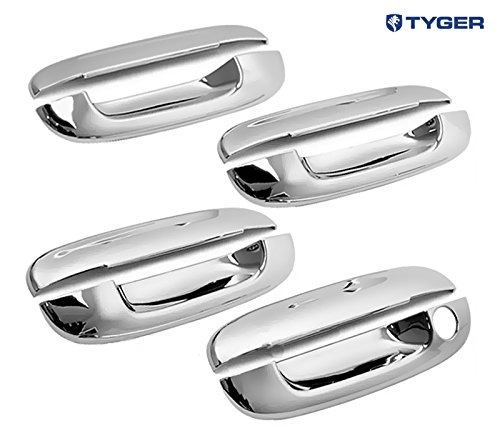 Tyger ABS Triple Chrome Plated Door Handle Cover Fits 02-09 Chevy Trailblazer/05-07 Buick Rainier/02-09 GMC Envoy/03-07 Cadillac CTS/00-05 Deville/06-11 DTS 4 Doors Without Passenger Side Keyhole