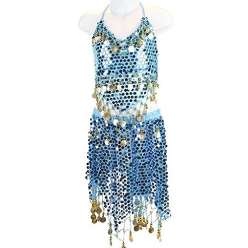 Little Girl Pilot Costume (Pilot-trade Kid's Belly Dance Costume Girls Sparkly Circle Sequin Coins Top & Skirt Sky Blue)