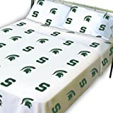 College Covers Michigan State Spartans Printed Sheet Set - Full - White