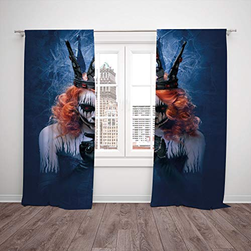 2 Panel Set Thermal Insulated Blackout Window Curtain,Queen Queen of Death Scary Body Art Halloween Evil Face Bizarre Make Up Zombie Navy Blue Orange Black,for Bedroom Living Room Dorm Kitchen Cafe