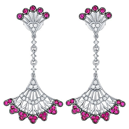 Prism Jewel 0.50CT Pink Ruby With Natural Diamond Hand Fan Style Drop Dangle Earring, 10k White Gold