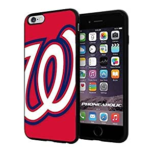 """MLB Washington Nationals logo Baseball,Cool iPhone 6 Plus (6+ , 5.5"""") Smartphone Case Cover Collector iphone TPU Rubber Case Black"""