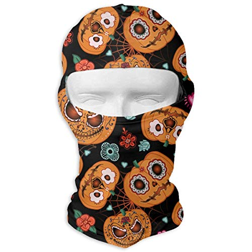 Cookisn balaclavas Neck Hood Full Face Mask Hat Sunscreen Windproof Breathable Quick Drying Halloween Pumpkin Spider Web Flowers Men Women ()