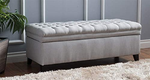 Noble House Storage Ottoman in Light Gray