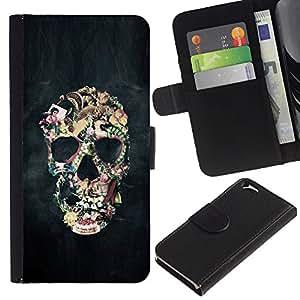 EJOY---La carpeta del tirón la caja de cuero de alta calidad de la PU Caso protector / Apple Iphone 6 / --Biker Humo Negro cráneo Vida Muerte